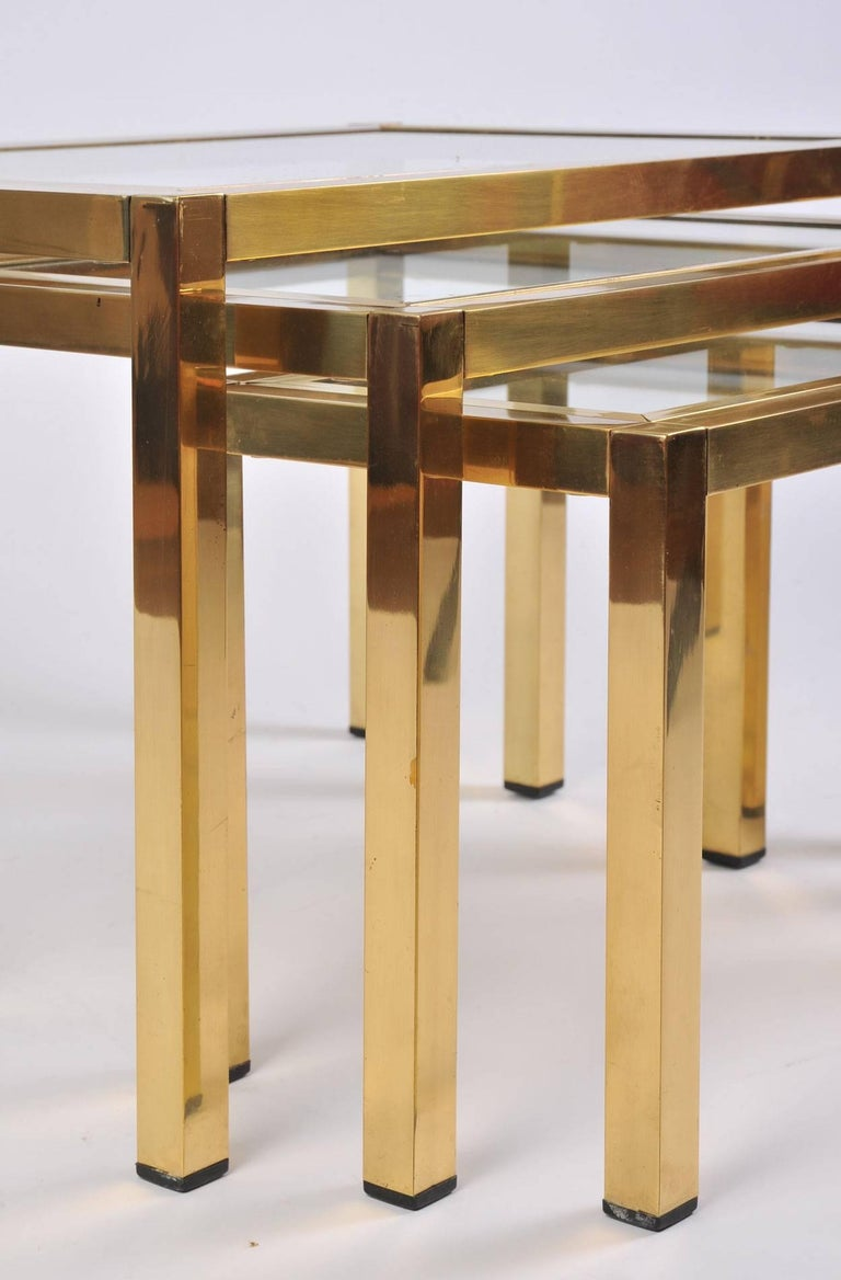 1950s Italian Brass Nest of Tables For Sale 1