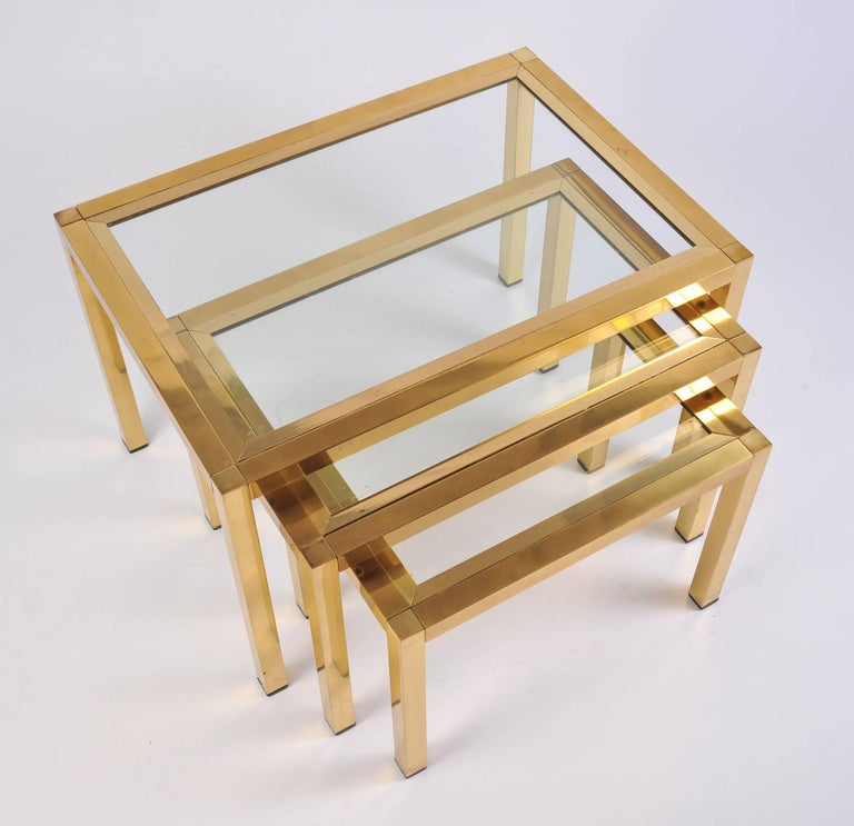 1950s Italian Brass Nest of Tables For Sale 2