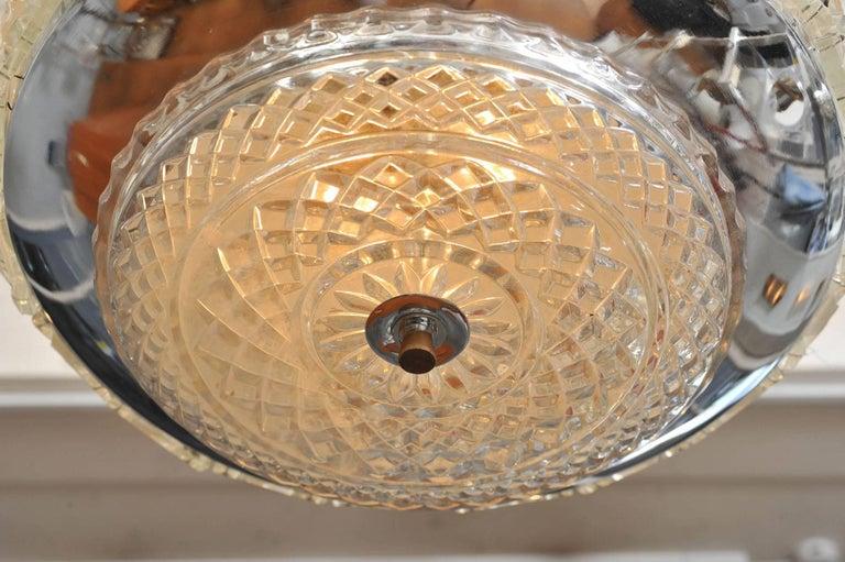 Chrome 1970s Italian 'Diamonds' Chandelier For Sale