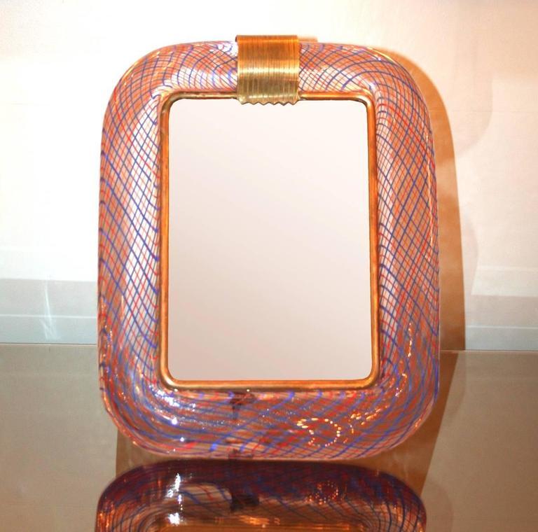 Italian 1950s Striped Table Mirror by Venini For Sale