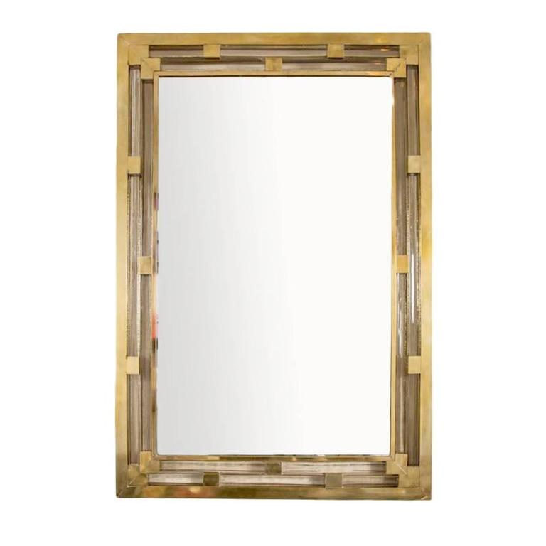 Modern Italian Brass Wall Mirror