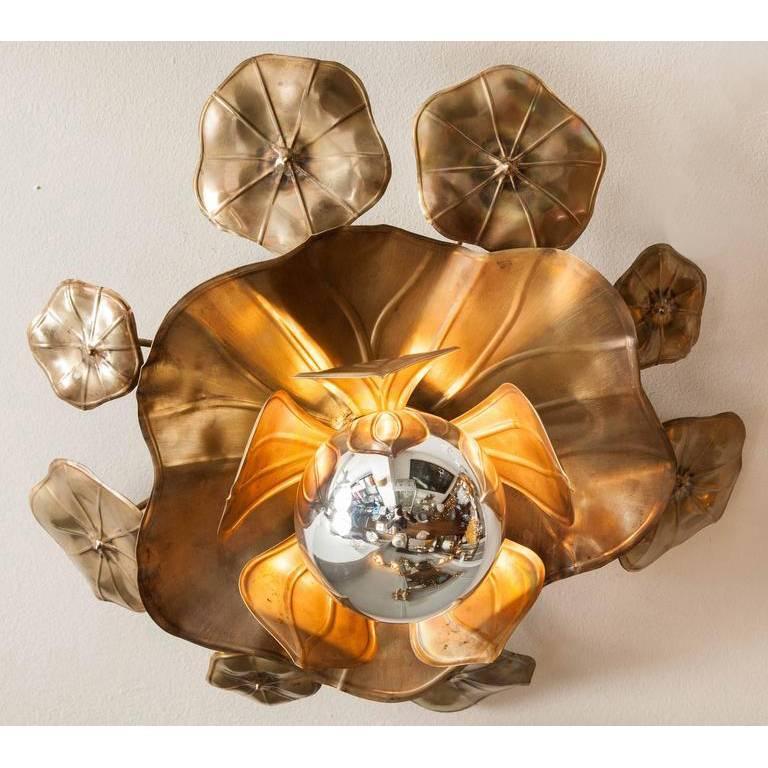 Brass Lotus Flower Ceiling Lights For Sale