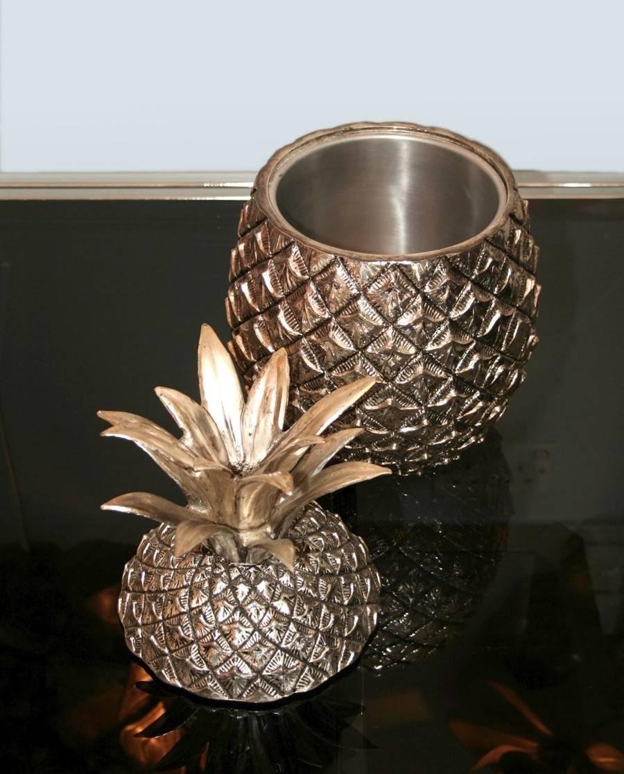 huge 39 pineapple 39 ice bucket by mauro manetti at 1stdibs. Black Bedroom Furniture Sets. Home Design Ideas