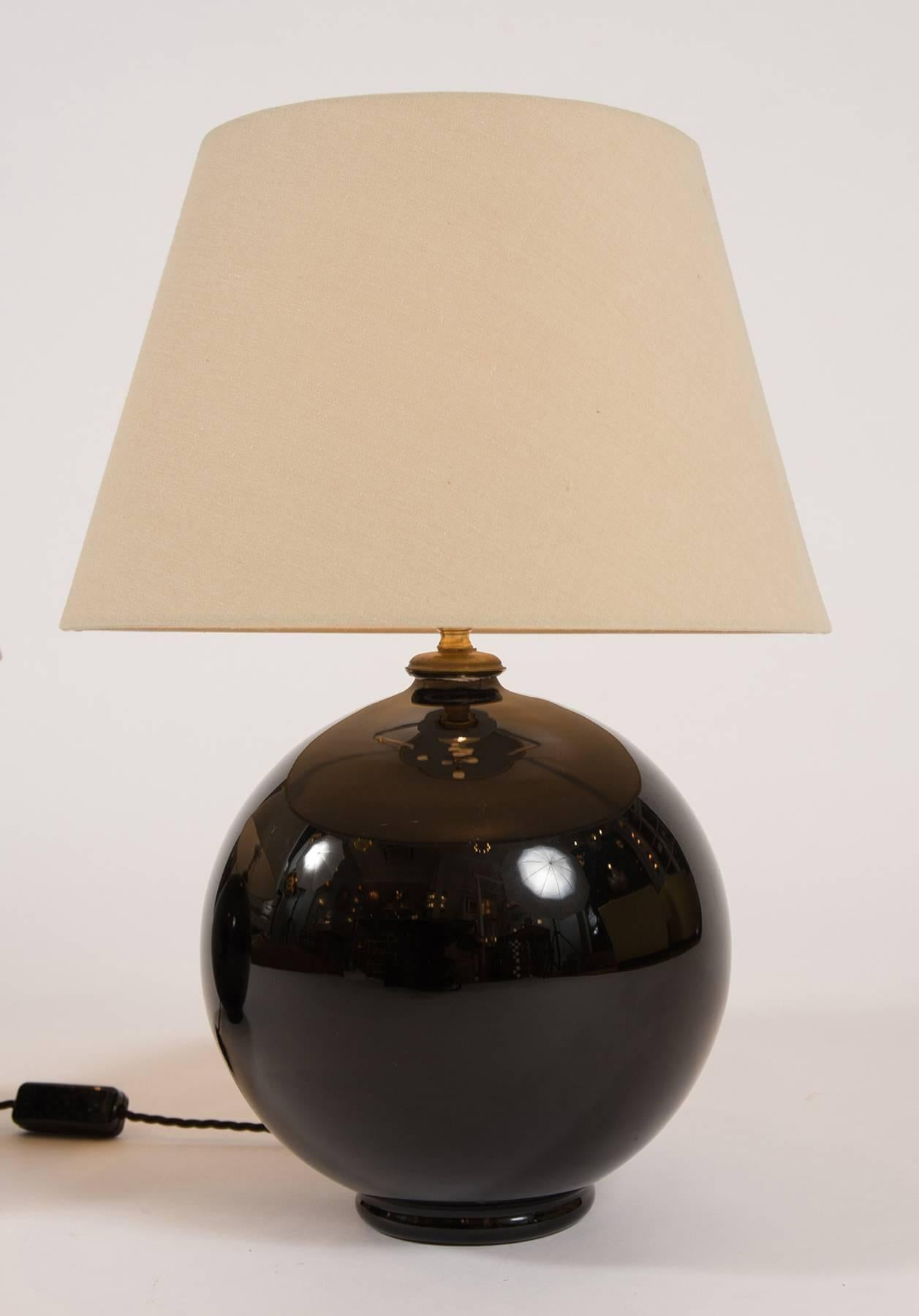 Pair Of 1930s Black Glass Ball Lamps At 1stdibs
