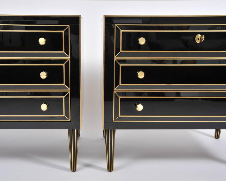 Mid-Century Modern Pair of Italian 1970s Black Glass Chest-of-drawers For Sale