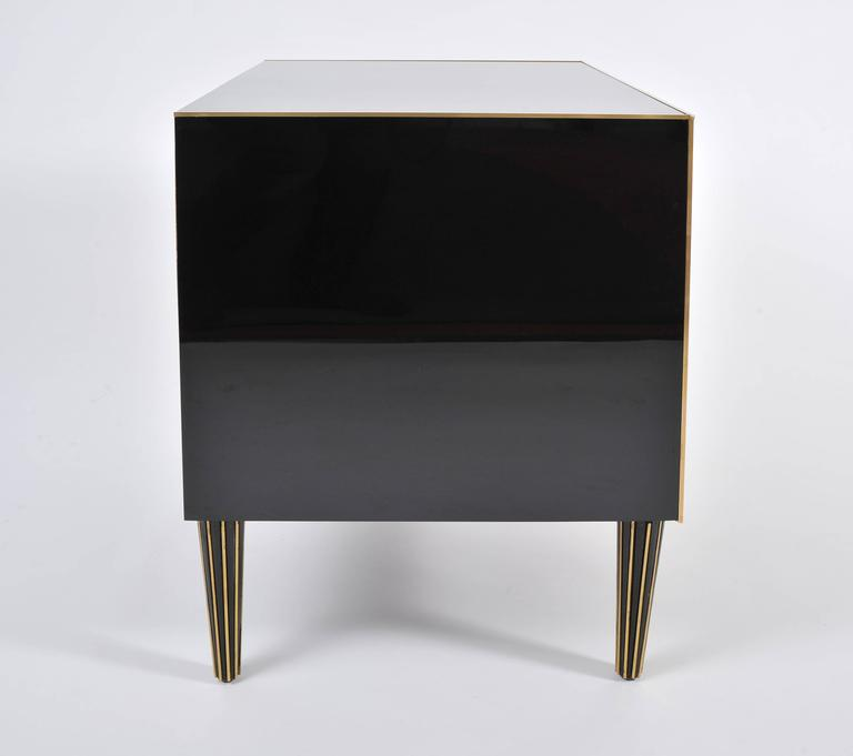 Late 20th Century Pair of Italian 1970s Black Glass Chest-of-drawers For Sale