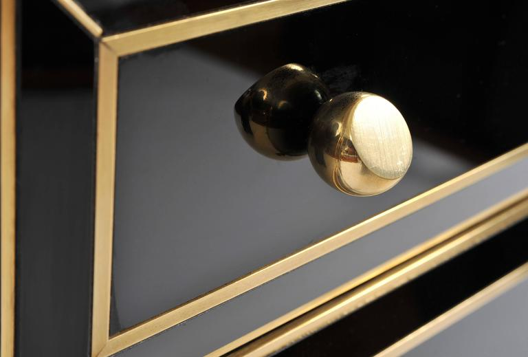Brass Pair of Italian 1970s Black Glass Chest-of-drawers For Sale