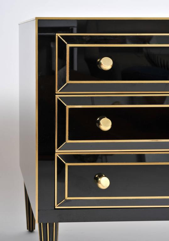 Pair of Italian 1970s Black Glass Chest-of-drawers For Sale 1