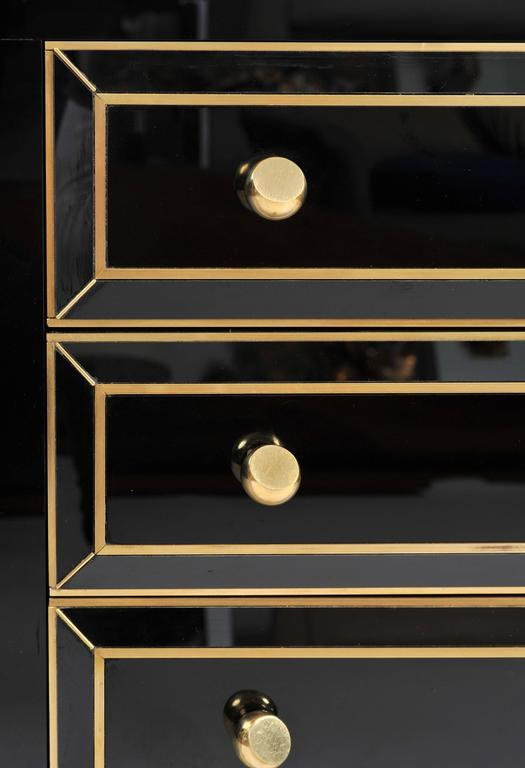 Pair of Italian 1970s Black Glass Chest-of-drawers For Sale 2