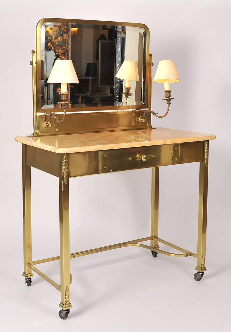 Mid-Century Modern 1950s Italian Marble and Brass Dressing Table or Vanity For Sale