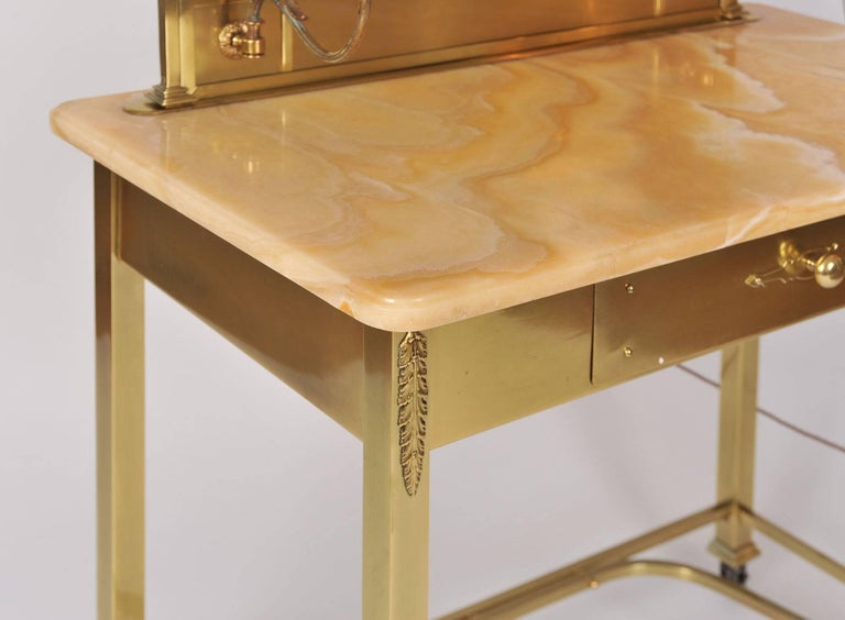 Mirror 1950s Italian Marble and Brass Dressing Table or Vanity For Sale