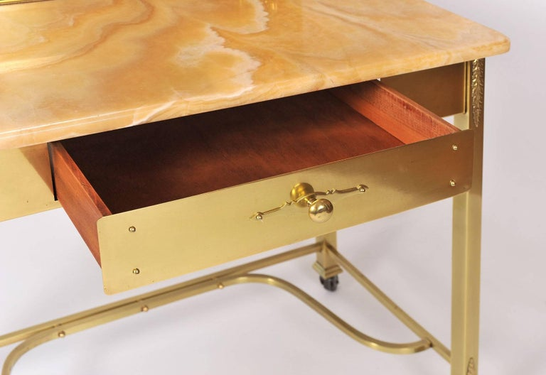 1950s Italian Marble and Brass Dressing Table or Vanity For Sale 1