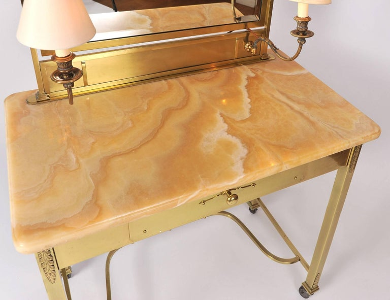20th Century 1950s Italian Marble and Brass Dressing Table or Vanity For Sale