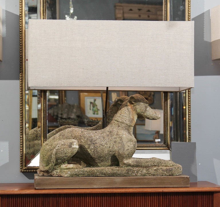 Grand Pair of Antique English Dogs with Custom Base and Linen Shades For Sale 5
