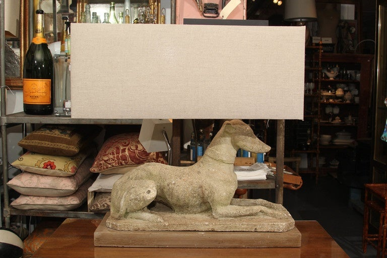 Grand Pair of Antique English Dogs with Custom Base and Linen Shades For Sale 6