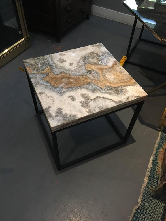Contemporary Pair of Marble-Top Square Side Tables For Sale