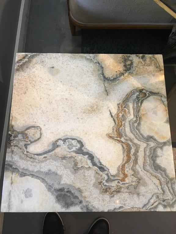 Pair of Marble-Top Square Side Tables In Good Condition For Sale In Seattle, WA