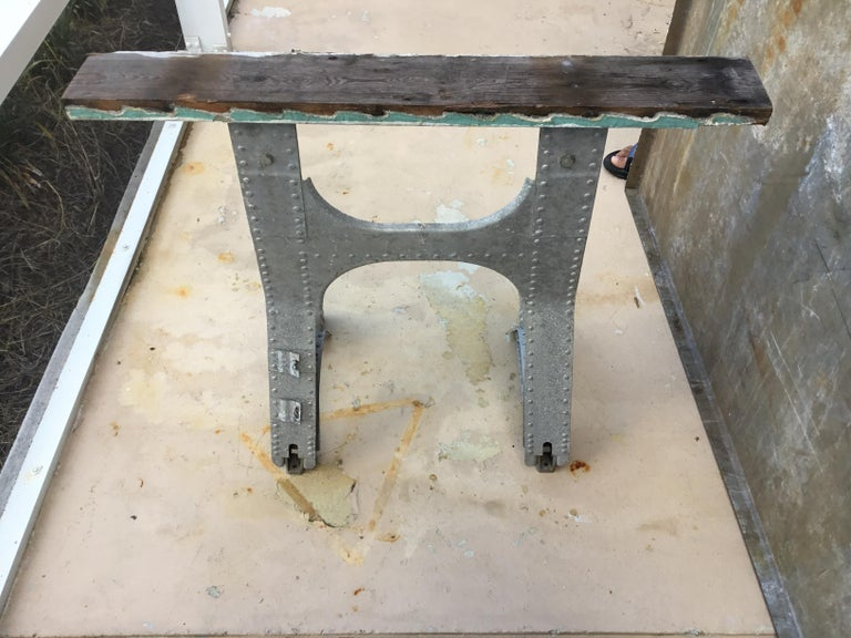 Galvanized Vintage Rustic Industrial Work Table For Sale