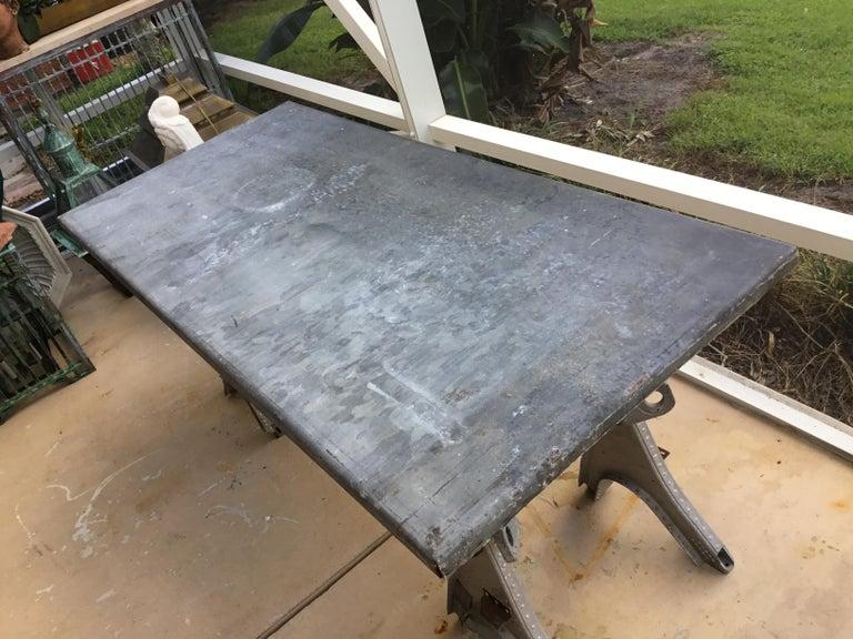 Vintage Rustic Industrial Work Table For Sale 2