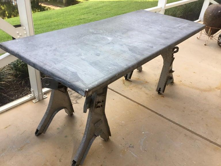 Vintage Rustic Industrial Work Table For Sale 3