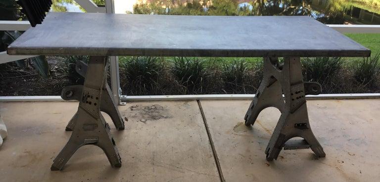 Vintage Rustic Industrial Work Table For Sale 5