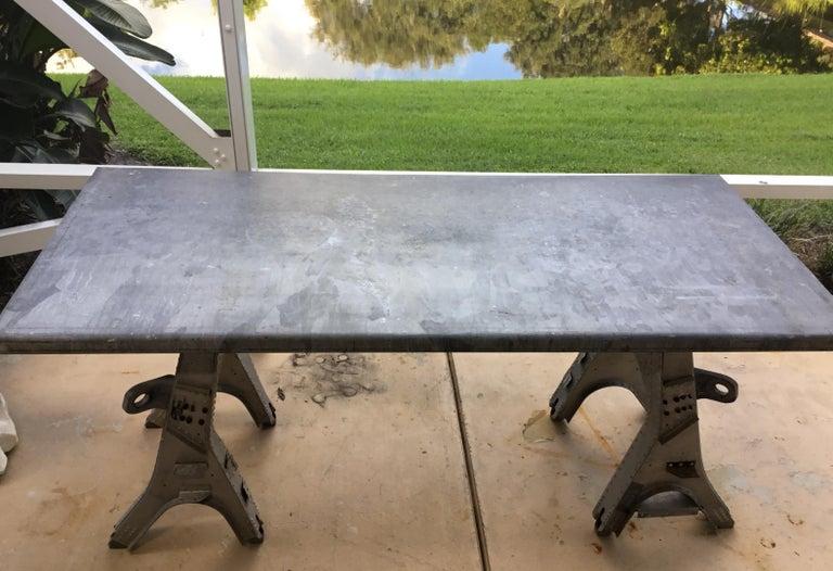 Vintage Rustic Industrial Work Table For Sale 6