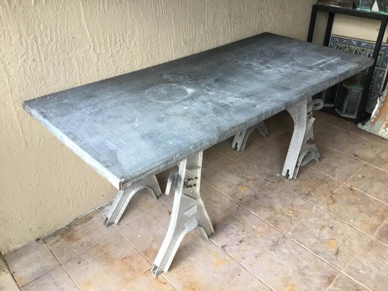 Vintage Rustic Industrial Work Table For Sale 8