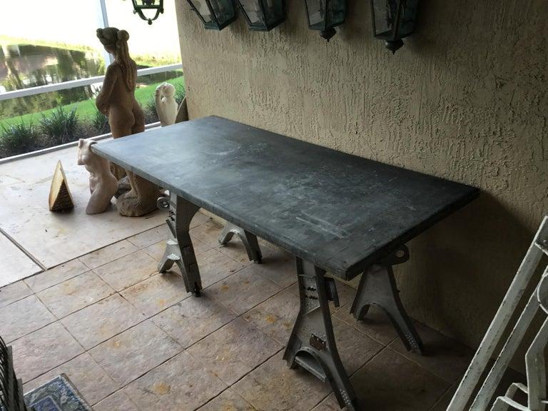 Vintage Rustic Industrial Work Table For Sale 13