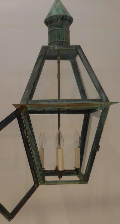 American Large Hanging Solid Copper Lantern For Sale
