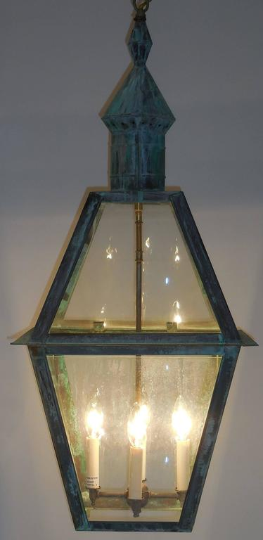 Brass Large Hanging Solid Copper Lantern For Sale