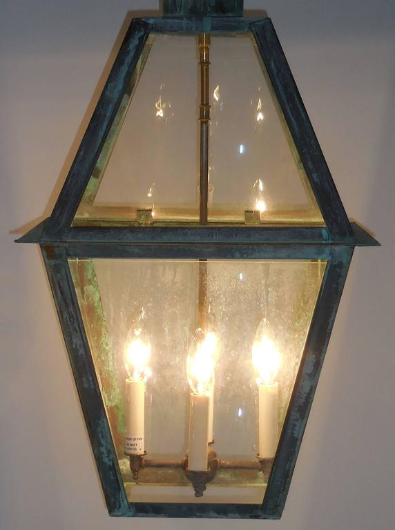 Late 20th Century Large Hanging Solid Copper Lantern For Sale