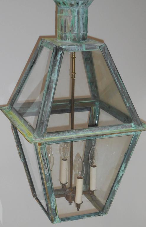 Large Hanging Solid Copper Lantern For Sale 1