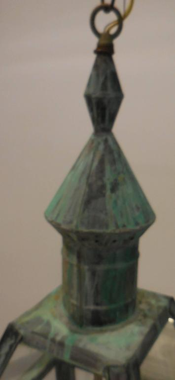 Large Hanging Solid Copper Lantern In Good Condition For Sale In Delray Beach, FL