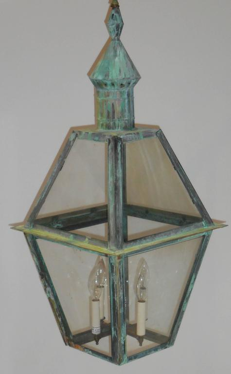 Large Hanging Solid Copper Lantern For Sale 4