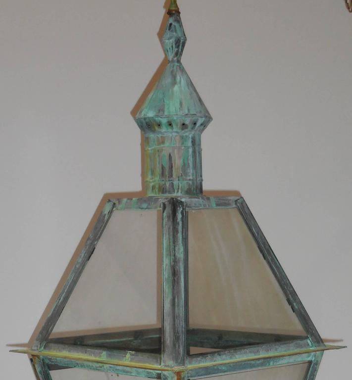 Large Hanging Solid Copper Lantern For Sale 2