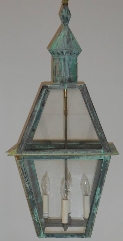 Large Hanging Solid Copper Lantern For Sale 3