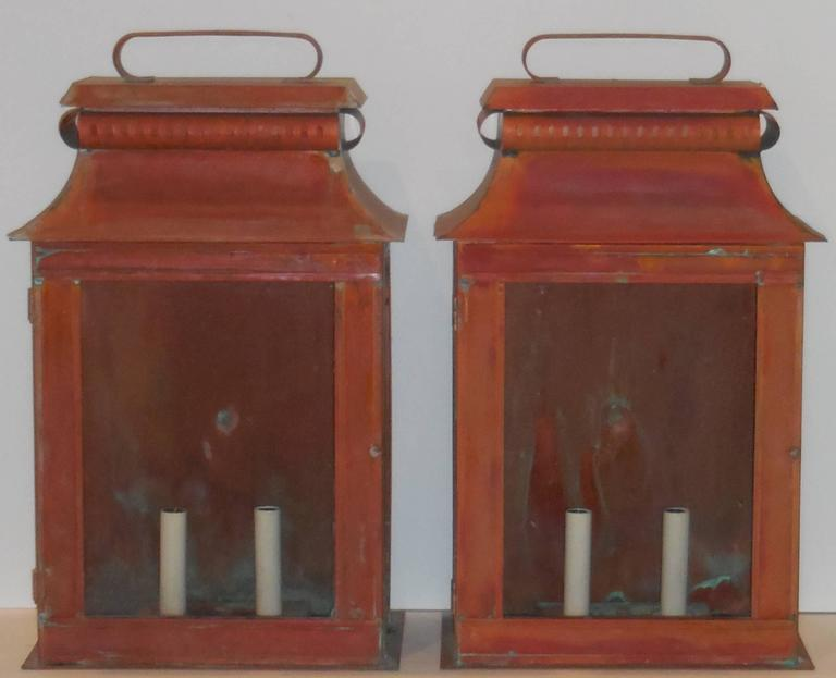 Pair of Large Architectural Wall Copper Lantern For Sale at 1stdibs