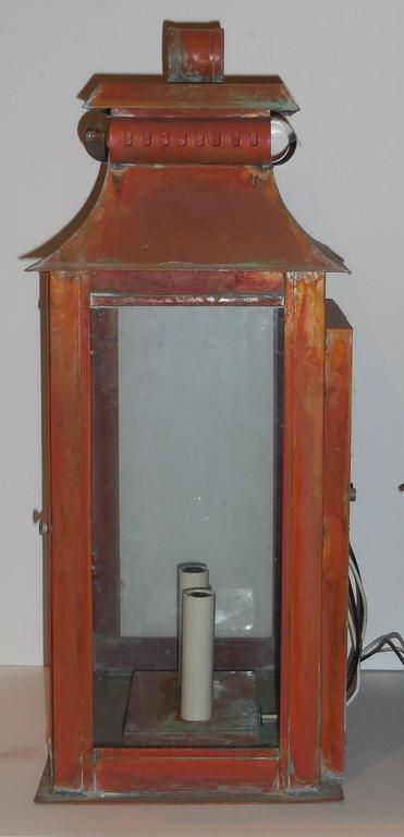 Wall Copper Lantern : Pair of Large Architectural Wall Copper Lantern For Sale at 1stdibs
