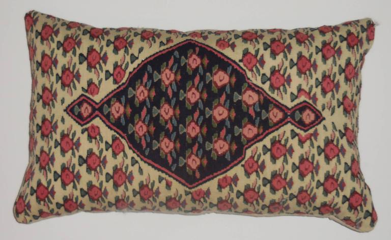 Beautiful pillow made of hand woven flat weave Senna Persian rug. All over floral and geometric motifs on cream and blue background. Fine quality Persian weave. Linen backing . Frash insert
