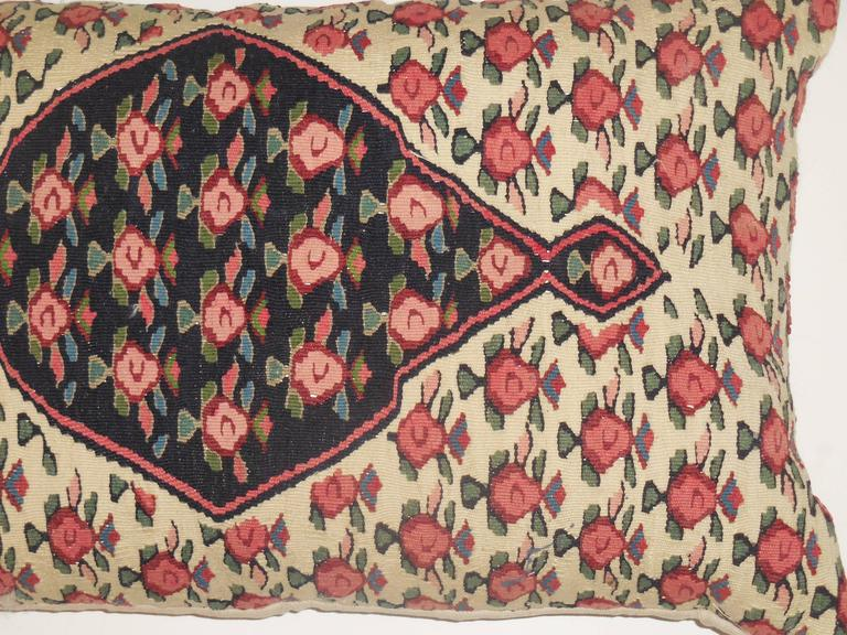 Cotton Large Flat-Weave Persian Rug Fragment Pillow For Sale