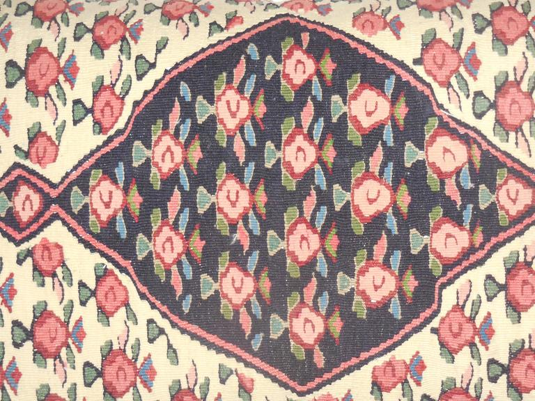 Large Flat-Weave Persian Rug Fragment Pillow In Good Condition For Sale In Delray Beach, FL