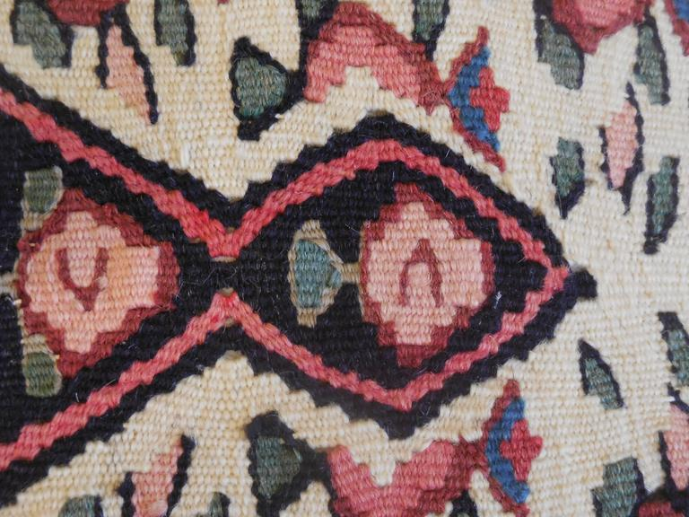 Mid-20th Century Large Flat-Weave Persian Rug Fragment Pillow For Sale