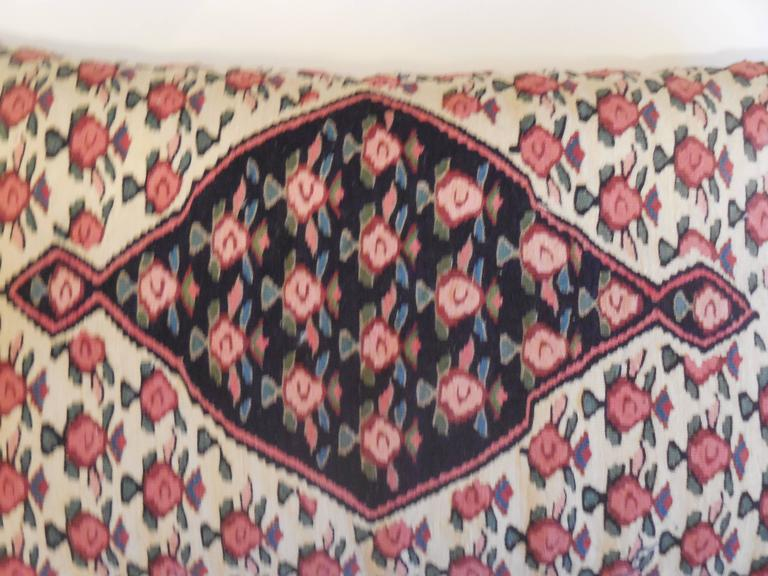 Large Flat-Weave Persian Rug Fragment Pillow For Sale 5