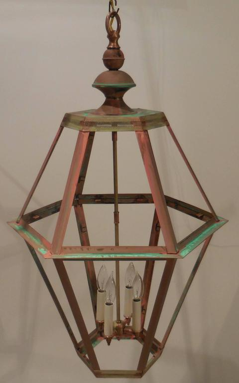 Large Copper Lantern In Excellent Condition For Sale In Delray Beach, FL