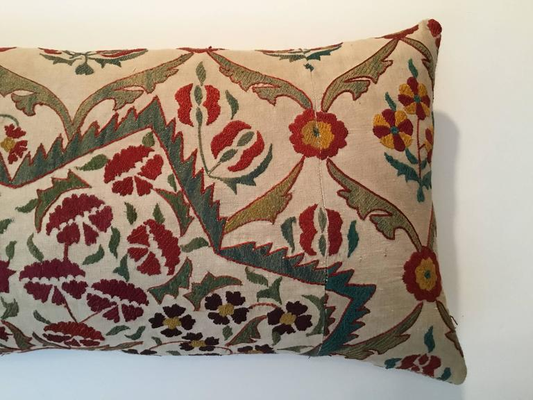Beautiful pillow made of hand embroidery silk on cream cotton background, with colorful motifs of vine and flowers. New insert, down and feather. Fine linen backing.