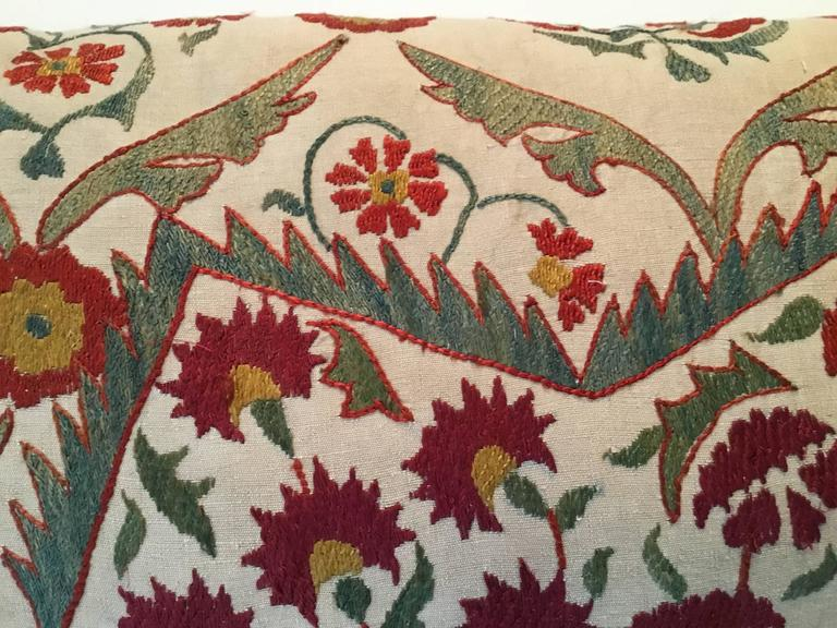20th Century Large Embroidery Suzani Pillow For Sale