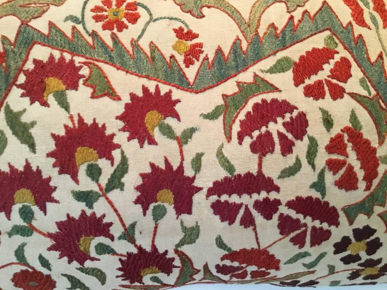 Cotton Large Embroidery Suzani Pillow For Sale
