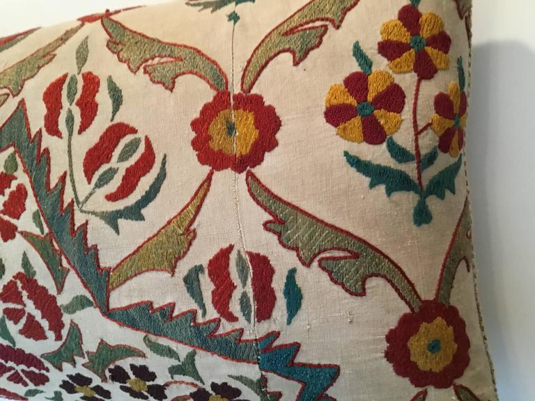 Large Embroidery Suzani Pillow For Sale 1