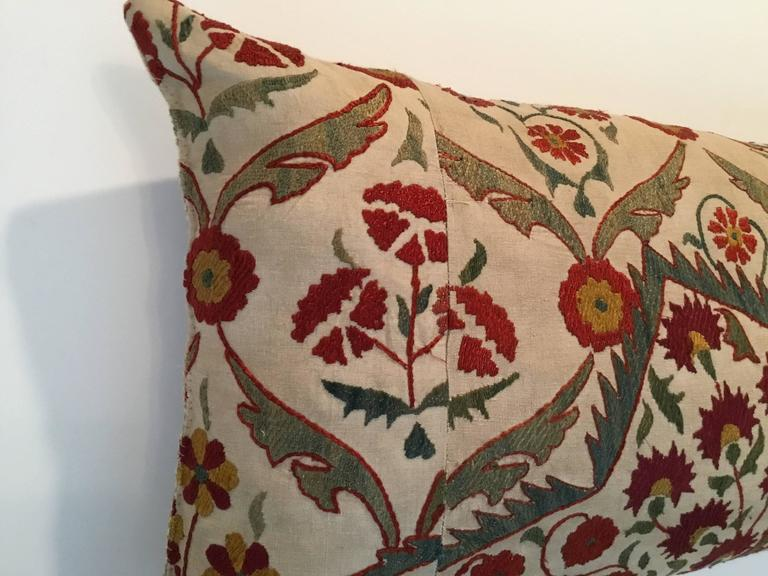 Large Embroidery Suzani Pillow For Sale 2