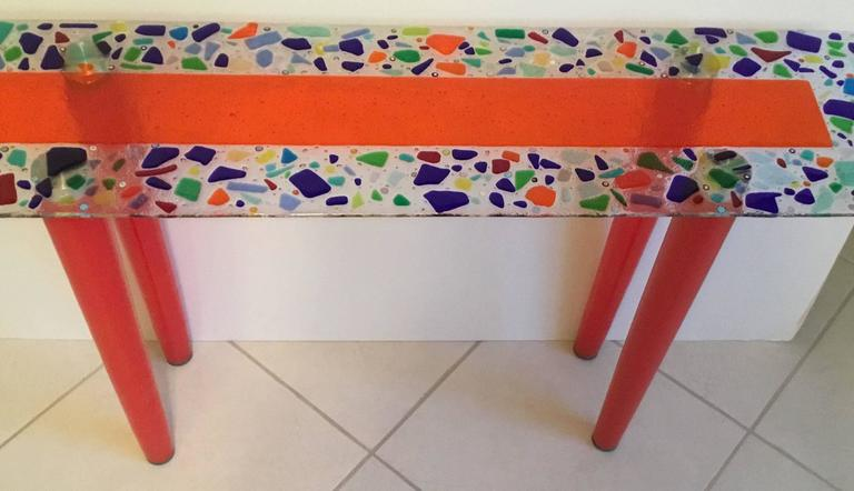 One of a Kind Murano Glass Console Table For Sale 1